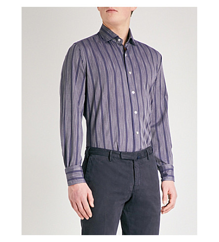 EMMETT LONDON Striped cotton shirt (Grey