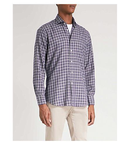 EMMETT LONDON Checked slim-fit cotton shirt (Grey