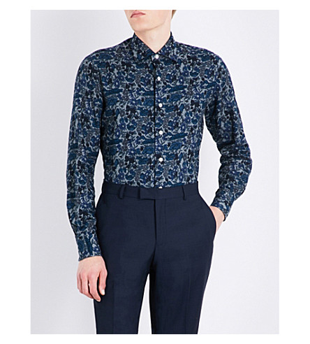EMMETT LONDON Floral-print slim-fit cotton shirt (Chambray