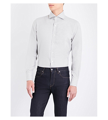 EMMETT LONDON Slim-fit brushed cotton shirt (Soft+grey