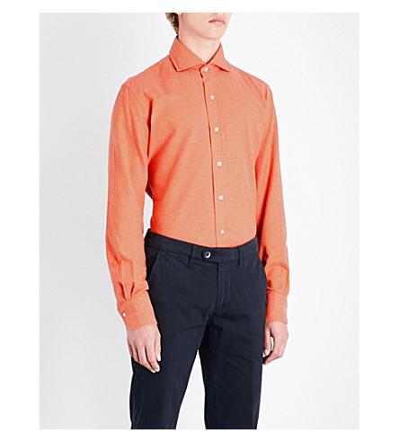 EMMETT LONDON Slim-fit brushed cotton shirt (Orange