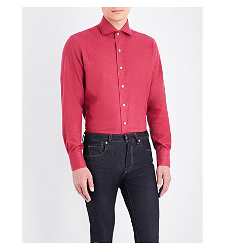 EMMETT LONDON Slim-fit brushed cotton shirt (Red
