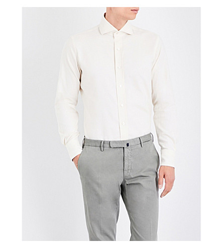 EMMETT LONDON Slim-fit brushed cotton shirt (Ecru