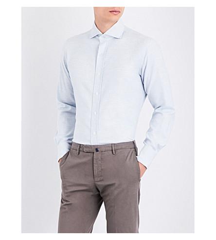 EMMETT LONDON Slim-fit brushed cotton shirt (Sky