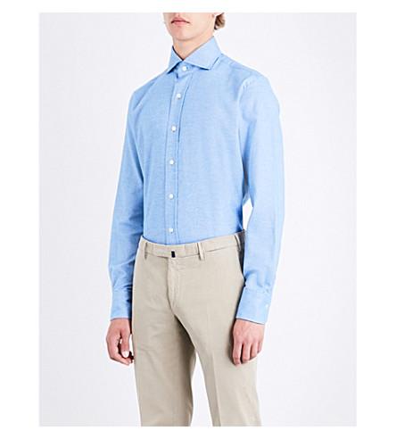 EMMETT LONDON Slim-fit brushed-cotton shirt (Mid+blue