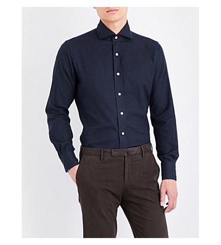 EMMETT LONDON Slim-fit brushed cotton shirt (Navy