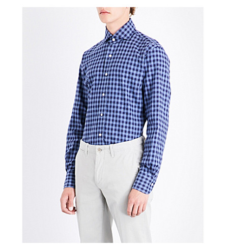 EMMETT LONDON Checked brushed cotton shirt (Sky