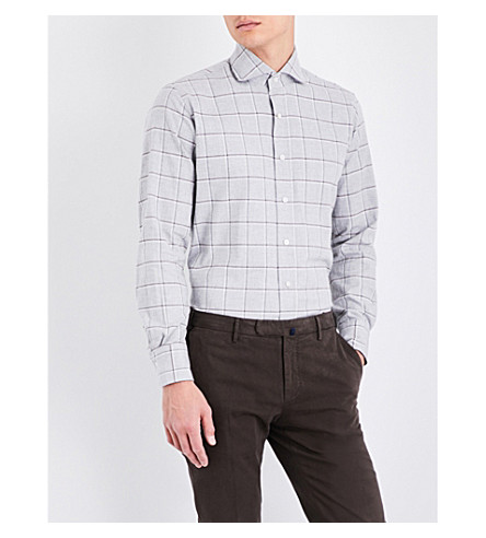 EMMETT LONDON Checked slim-fit brushed cotton shirt (Light+grey