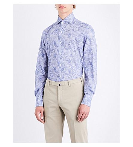 EMMETT LONDON Floral-print slim-fit cotton-chambray shirt (Sky