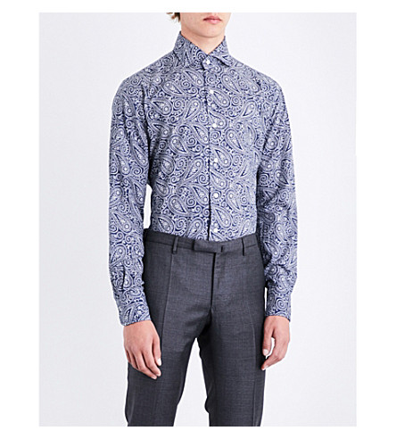 EMMETT LONDON Paisley slim-fit cotton-twill shirt (Navy