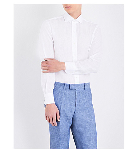 EMMETT LONDON Slim-fit linen shirt (White