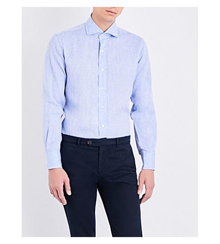 EMMETT LONDON Slim-fit linen shirt (Sky