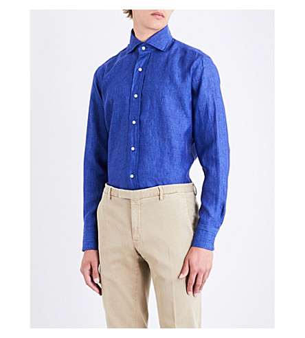 EMMETT LONDON Slim-fit linen shirt (Indigo