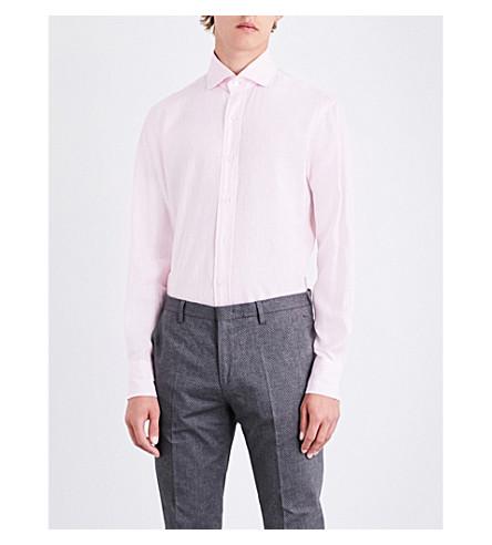 EMMETT LONDON Slim-fit linen shirt (Pink