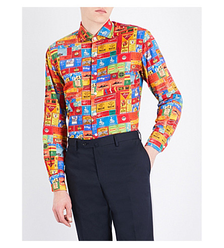 EMMETT LONDON Tea box-print slim-fit corduroy cotton shirt (Multi
