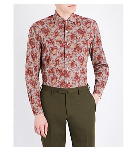 EMMETT LONDON Floral-print slim-fit cotton corduroy shirt (Taupe
