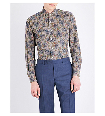 EMMETT LONDON Floral-print slim-fit cotton corduroy shirt (Taupe