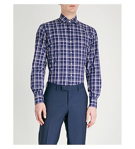 EMMETT LONDON Windowpane-check slim-fit cotton shirt (Navy