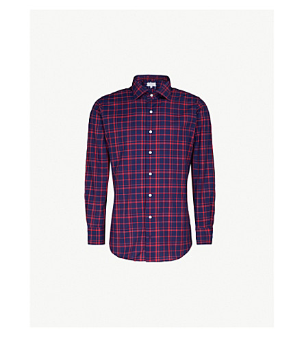 EMMETT LONDON Checked cotton shirt (Navy/red