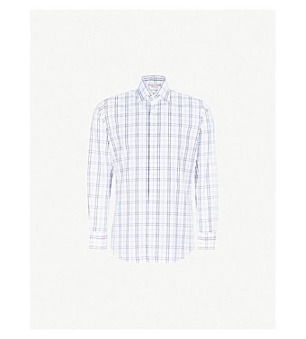 EMMETT LONDON 方格棉衬衫 (海军/白色