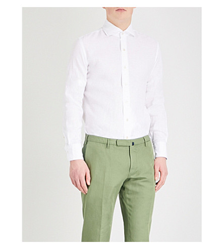 EMMETT LONDON 修身版型亚麻衬衫 (白色