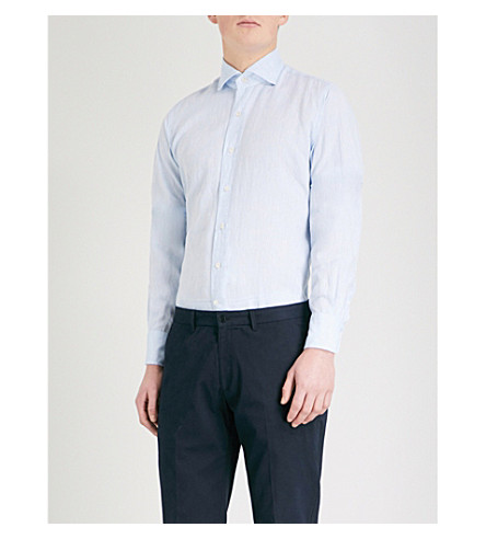 EMMETT LONDON Slim-fit linen shirt (Sky+blue