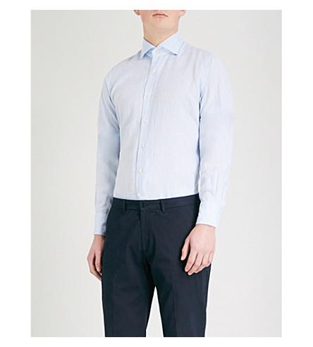 EMMETT LONDON 修身版型亚麻衬衫 (天 + 蓝)