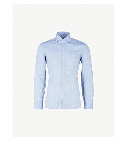 EMMETT LONDON Slim-fit linen shirt (Blue