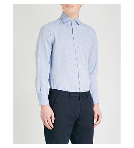 EMMETT LONDON Slim-fit linen shirt (Blue
