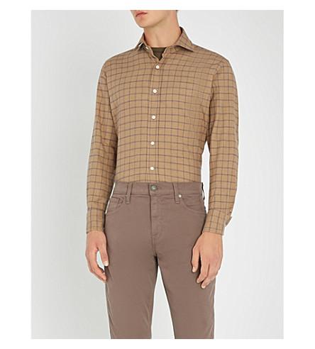 EMMETT LONDON 格纹修身版型拉丝棉衬衫 (米色