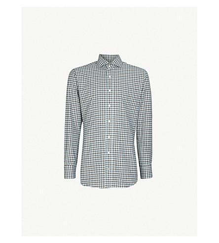 EMMETT LONDON 格纹修身版型拉丝棉衬衫 (棕色