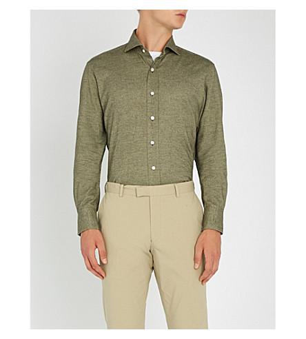 EMMETT LONDON 修身版型拉丝棉衬衫 (卡其色