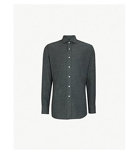 EMMETT LONDON 修身版型刷棉衬衫 (灰色