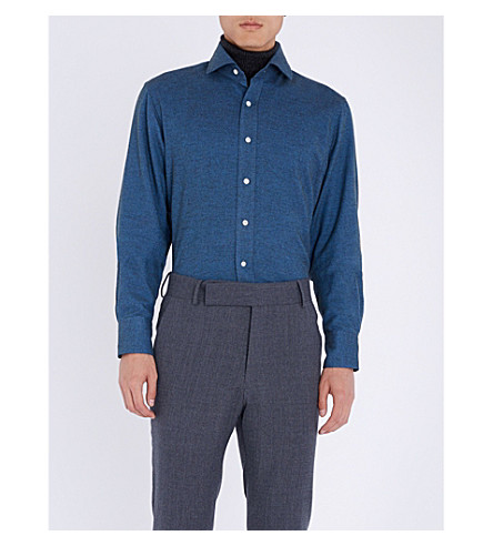 EMMETT LONDON Slim-fit brushed cotton shirt (Mid+blue