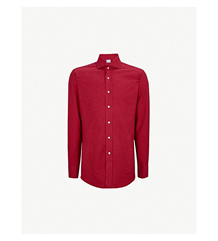 EMMETT LONDON 修身版型刷棉衬衫 (红色