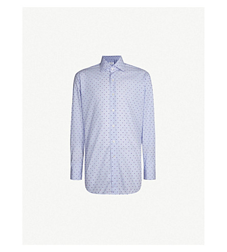 EMMETT LONDON Striped fil coupe slim-fit cotton shirt (Blue