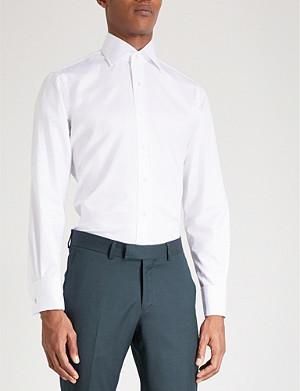 EMMETT LONDON Slim-fit double-cuff cotton-twill shirt