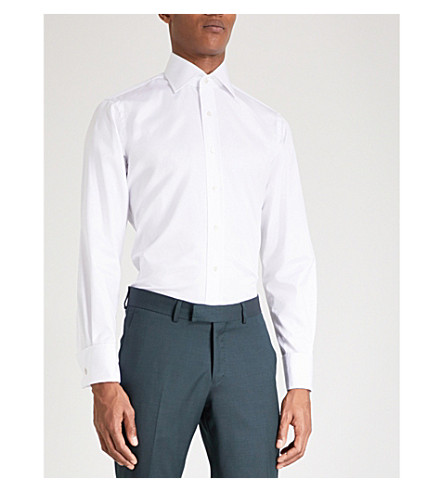 EMMETT LONDON Slim-fit double-cuff cotton-twill shirt (White