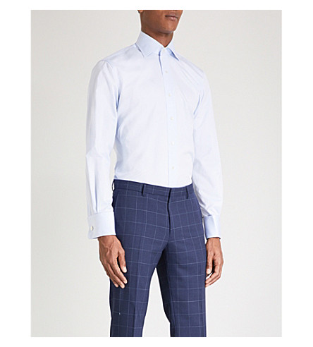 EMMETT LONDON Slim-fit double-cuff cotton-twill shirt (Blue