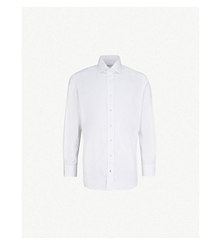 EMMETT LONDON Slim-fit single-cuff cotton-twill shirt (White