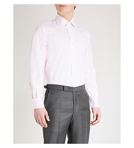EMMETT LONDON Slim-fit single-cuff cotton-twill shirt (Pink