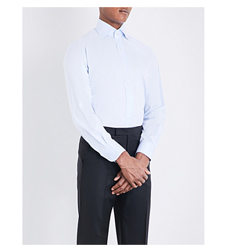 EMMETT LONDON Slim-fit single-cuff cotton-twill shirt (Blue
