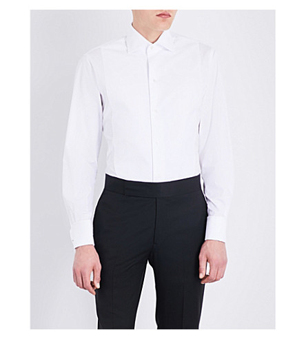 EMMETT LONDON Bib-panelled slim-fit double-cuff cotton-poplin shirt (White