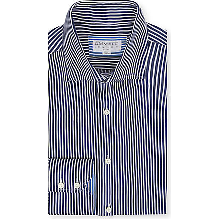 EMMETT LONDON Stretch collar striped shirt (Blue/ white