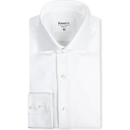 EMMETT LONDON Panama spread collar shirt (White