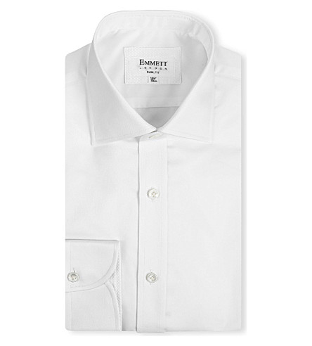 EMMETT LONDON Chelsea-collar slim-fit single-cuff shirt (White