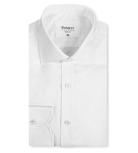 EMMETT LONDON Chelsea-collar slim-fit single-cuff shirt (White