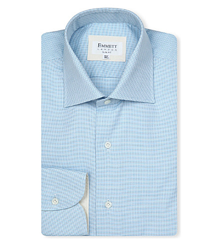 EMMETT LONDON Micro pin-dot shirt (Blue/ turquoise