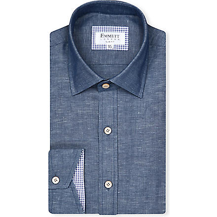 EMMETT LONDON Chambray slim-fit shirt (Blue
