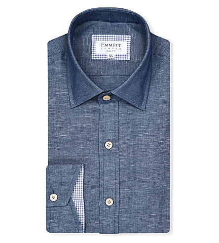 EMMETT LONDON Chambray slim-fit shirt (Blue